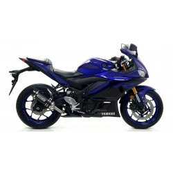 DARK ALUMINUM ARROW THUNDER EXHAUST PIPE WITH CARBON BASE FOR YAMAHA YZF-R3 2019/2020, APPROVED