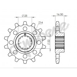 STEEL FRONT SPROCKET FOR CHAIN 520 FOR DUCATI 848 2008/2012, 1098 R/S 2007/2009, 1198/S 2009/2010 (16 teeth)