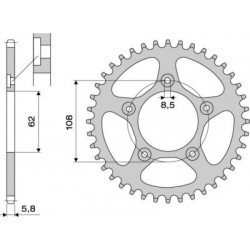 STEEL REAR SPROCKET FOR 520 CHAIN FOR APRILIA RS 125 1998/2005