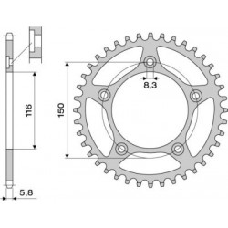 ALUMINIUM REAR SPROCKET FOR 520 CHAIN FOR APRILIA RS 250