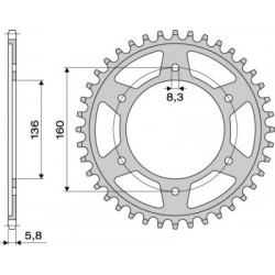 STEEL REAR SPROCKET FOR 520 CHAIN FOR BMW F 650 GS 2000/2007, G 650 GS 2011/2015
