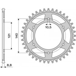 STEEL CROWN FOR CHAIN 530 FOR CAGIVA RAPTOR 1000 2000/2004