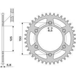 STEEL REAR SPROCKET FOR ORIGINAL CHAIN 520 FOR KTM DUKE 690 2008/2019, SMC 690 2008/2014, SUPERMOTO 690 2007/2010