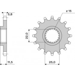 STEEL FRONT SPROCKET FOR ORIGINAL CHAIN 520 FOR KTM DUKE 690 2008/2019, SMC 690 2008/2014, SUPERMOTO 690 2007/2010