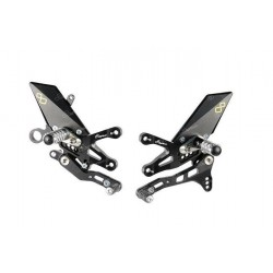 LIGHTECH ADJUSTABLE REAR SETS WITH ARTICULATED FOOTRESTS FOR APRILIA TUONO V4 1100 RR 2015/2017* (standard shifting control)