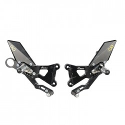 LIGHTECH ADJUSTABLE REAR SETS WITH ARTICULATED FOOTREST FOR BMW S 1000 RR 2009/2014 (standard shifting control)
