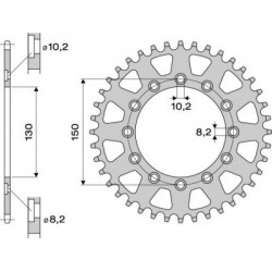 STEEL REAR SPROCKET FOR ORIGINAL CHAIN 520 FOR YAMAHA XJ6/DIVERSION 2009/2015 (Z 42/45)
