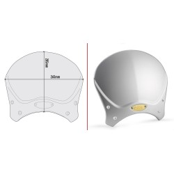 GIVI CAFE RACE WINDSCREEN IN ALUMINUM FOR BENELLI LEONCINO 500 2018/2020, COLOR GRAY