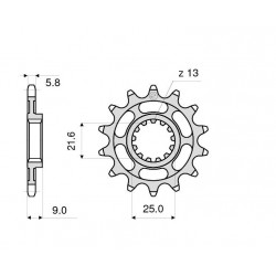STEEL FRONT SPROCKET FOR CHAIN 520 FOR KAWASAKI ZX-9R 1998/2003