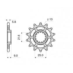 STEEL FRONT SPROCKET FOR CHAIN 520 FOR SUZUKI GSX-R 1000 2001/2008, BANDIT 650 2005/2006, GSX-R 750 1996/1997