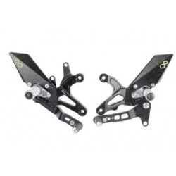 LIGHTECH ADJUSTABLE REAR SETS WITH ARTICULATED FOOTREST FOR KAWASAKI ZX-6R 2007/2012 (standard shifting)