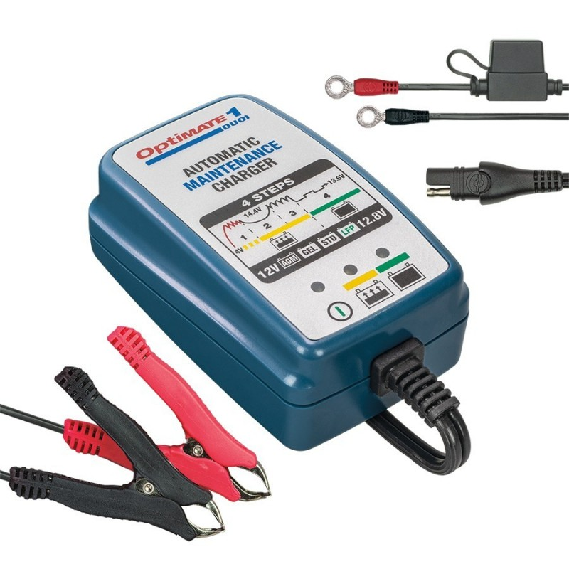 OPTIMATE 1 DUO CHARGER WITH HOLDING FUNCTION FOR LITHIUM AND LEAD BATTERIES