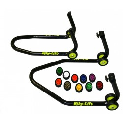 PAIR OF STANDS FOR MOTORCYCLES (FRONT + REAR) WITH COLOR CHOICE OF WHEELS AND ADJUSTABLE RUBBER SUPPORTS