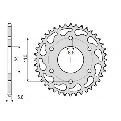 STEEL REAR SPROCKET FOR 520 CHAIN FOR KTM 390 ADVENTURE 2020