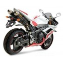 PAIR OF EXHAUST MIVV OVAL STAINLESS STEEL FOR YAMAHA R1 2007/2008, APPROVED