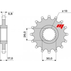 STEEL FRONT SPROCKET FOR CHAIN 520 FOR HONDA HORNET 600 2007/2010, CBR 600 F/SPORT 2001/2006, CBR 600 RR 2003/2017