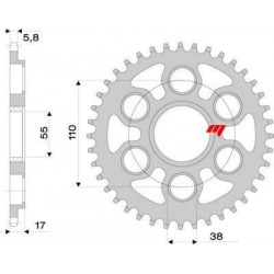 ALUMINIUM REAR SPROCKET FOR 520 CHAIN FOR DUCATI 1098, 1198, STREETFIGHTER 1098 / S 2009/2013