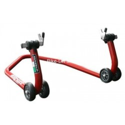 EXTRA LOW REAR STAND WITH FORK SUPPORTS FOR MOTORCYCLES WITH PAIR OF LOWERED ROLLS