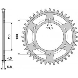 ALUMINIUM REAR SPROCKET FOR 520 CHAIN FOR YAMAHA R6 2003/2019, R1 1998/2014