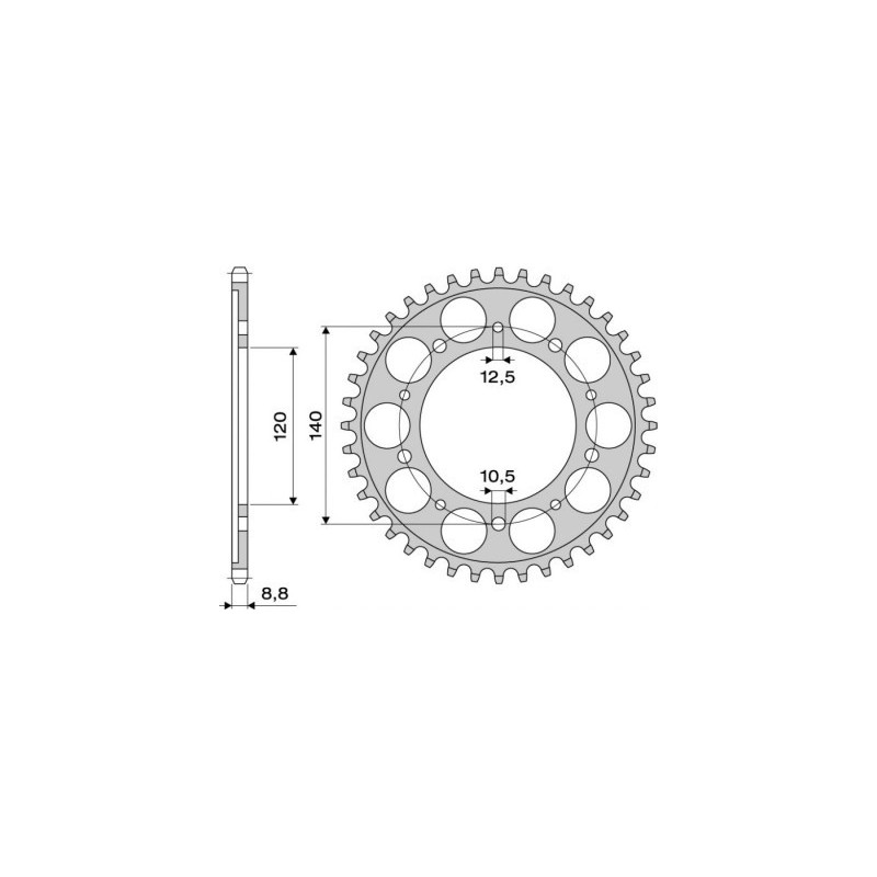 STEEL REAR SPROCKET FOR ORIGINAL CHAIN 530 FOR SUZUKI GSX-R 1000 2001/2008, SV 1000/S, BANDIT 1250/S, B-KING 2008/2015