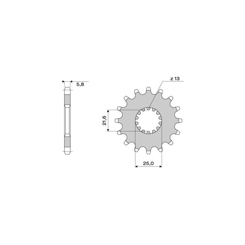 STEEL FRONT SPROCKET FOR CHAIN 520 FOR KAWASAKI ER-6N/ER-6F 2006/2016, VERSYS 650 2007/2020