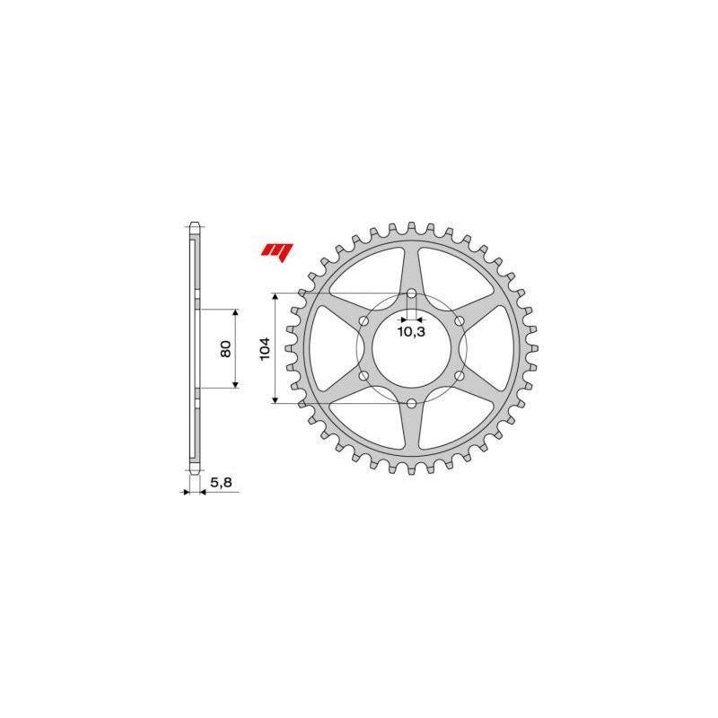 STEEL REAR SPROCKET FOR CHAIN 520 FOR KAWASAKI ZX-6R 600/636 2003/2006, ZX-6R 2007/2012