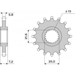 STEEL FRONT SPROCKET FOR CHAIN 520 FOR TRIUMPH DAYTONA 675/R 2006/2015
