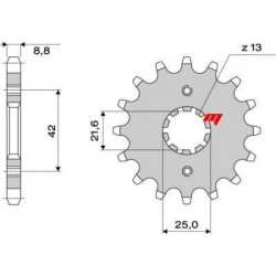 SPROCKET IN STEEL FOR ORIGINAL CHAIN 530 FOR KAWASAKI ZX-9R 1995/2001