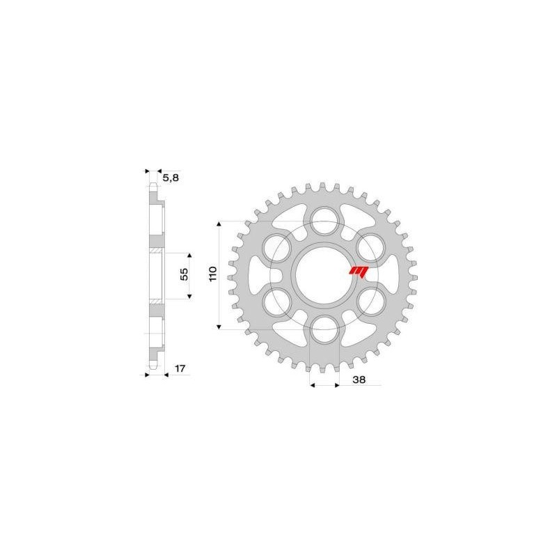 STEEL REAR SPROCKET FOR CHAIN 525 FOR DUCATI 1098/S 2007/2008, 1098 R 2008/2010, 1198/S 2009/2010
