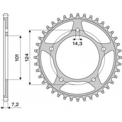 STEEL REAR SPROCKET FOR ORIGINAL CHAIN 525 FOR KTM 950 SUPERMOTO, 990 SUPERMOTO