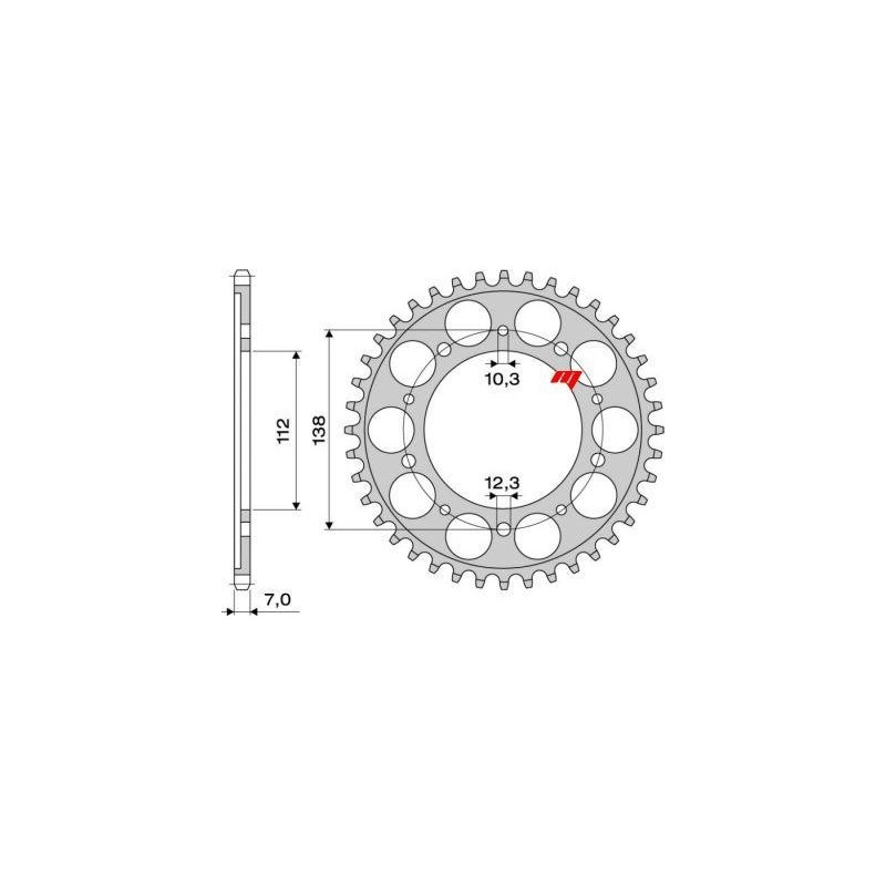 STEEL REAR SPROCKET FOR ORIGINAL CHAIN 525 FOR HONDA HORNET 600 1998/2013, CBF 600 2004/2007, CBF 600 N 2008/2010