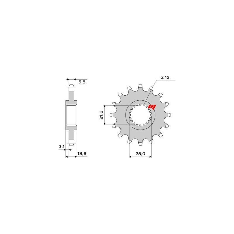 STEEL FRONT SPROCKET FOR ORIGINAL CHAIN 520 FOR KAWASAKI Z 750/S 2004/2011, Z 750 R 2011/2012