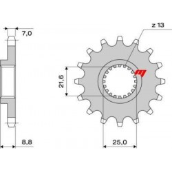 STEEL FRONT SPROCKET FOR ORIGINAL CHAIN 525 FOR KAWASAKI ZX-9R 2002/2003, Z 1000 2003/2016, VERSYS 1000 2012/2018