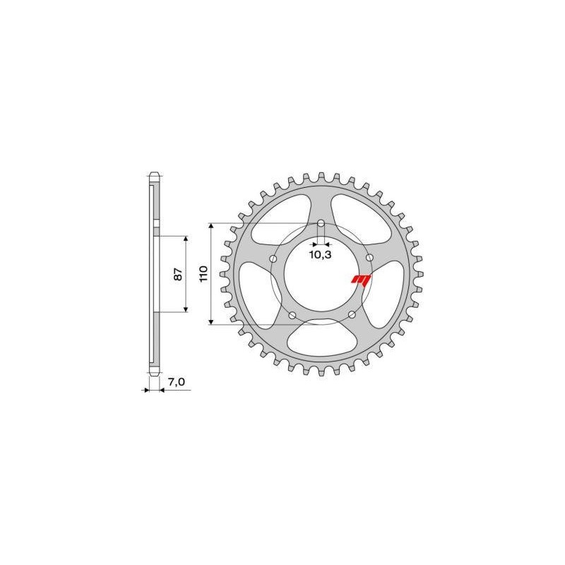 STEEL REAR SPROCKET FOR ORIGINAL CHAIN 525 SUZUKI SV 650/S 1999/2009, BANDIT 650/S 2007/2010, GSX 650 F 2010/2013