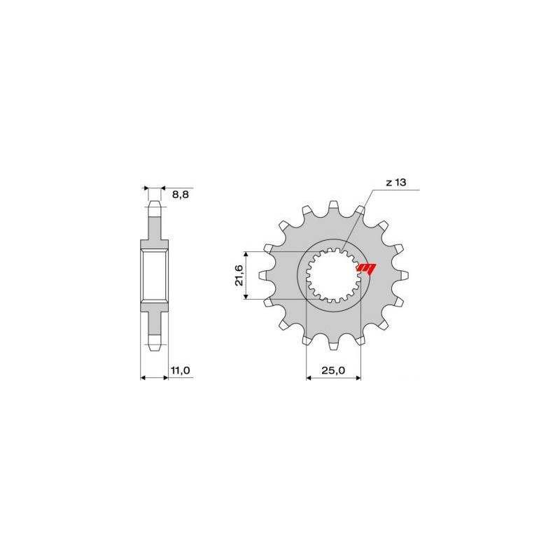 STEEL FRONT SPROCKET FOR ORIGINAL CHAIN 532 FOR YAMAHA R6 1999/2005