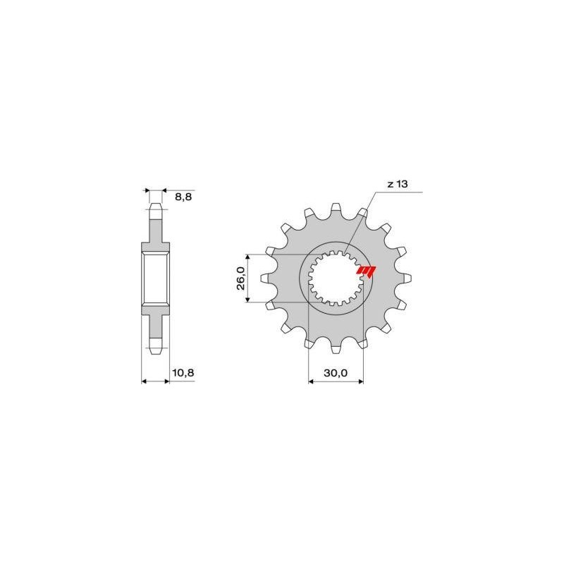 STEEL FRONT SPROCKET FOR ORIGINAL CHAIN 530 FOR YAMAHA FZ1/FZ1 Fazer 2006/2015, R1 1998/2014, MT-01 2005/2013