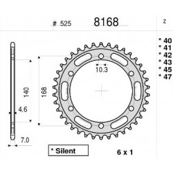 STEEL REAR SPROCKET FOR CHAIN 525 FOR BMW F 650 GS 2010/2012, F 800 GS 2013/2017, F 800 R 2009/2019