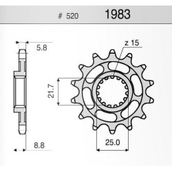 STEEL FRONT SPROCKET FOR CHAIN 520 FOR BETA RR 250 (4T) 2005/2016, RR 400 2005/2016, RR 450 2005/2016, RR 525 2005/2016