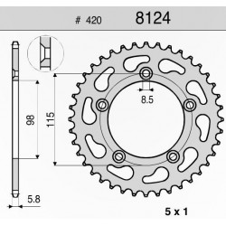 CROWN IN ERGAL FOR CHAIN 420 FOR KTM SX 65 2004/2015