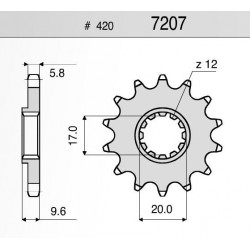 STEEL FRONT SPROCKET FOR CHAIN 420 FOR KTM SX 65 2000/2015