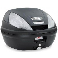 GIVI E370 TECH MONOLOCK CASE, BLACK WITH SMOKED REFLECTORS WITH PLATE AND UNIVERSAL KIT