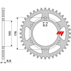 STEEL REAR SPROCKET FOR ORIGINAL CHAIN 530 FOR TRIUMPH SPEED TRIPLE 2005/2010, SPEED TRIPLE 955, SPEED TRIPLE T509