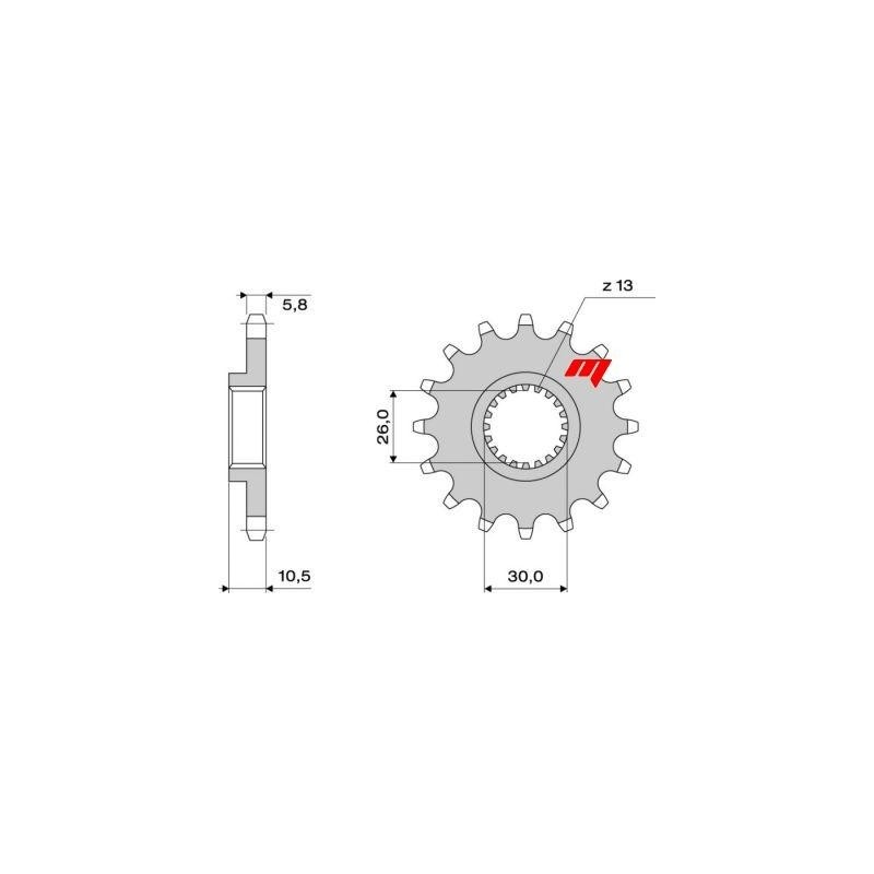 STEEL FRONT SPROCKET FOR CHAIN 520 FOR YAMAHA R1 1998/2016, FZ1/FZ1 FAZER 2006/2015, TDM 900 2002/2013