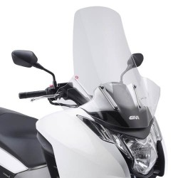 GIVI WINDSHIELD WITH HAND GUARDS FOR HONDA INTEGRA 700 2012/2013, INTEGRA 750 2014/2020, TRANSPARENT