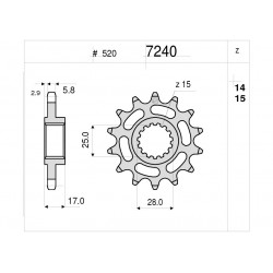 STEEL FRONT SPROCKET FOR CHAIN 520 FOR DUCATI 899 PANIGALE 2013/2015, 959 PANIGALE 2016/2018