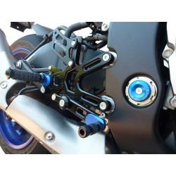 PEDANE ARRETRATE REGOLABILI 4 RACING MODELLO RACE PER YAMAHA R1 2015/2018 (cambio standard e rovesciato)