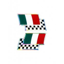 3D STICKER ITALY FLAG WITH CHESSBOARD MM 40 X 25 2PCS