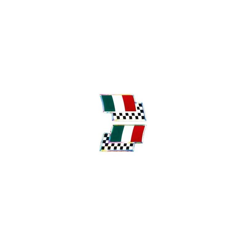 ADESIVO 3D BANDIERA ITALIA CON SCACCHIERA MM 40 X 25 2PZ