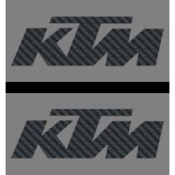 COPPIA ADESIVI LOGO KTM, COLORE CARBON mm 120 x 40 2pz