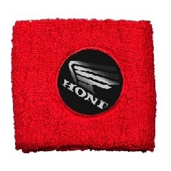 BRAKE OIL TANK PROTECTION CUFF WITH HONDA EMBLEM, RED COLOR